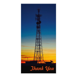 Thank You photo card - tower silhouette sunset