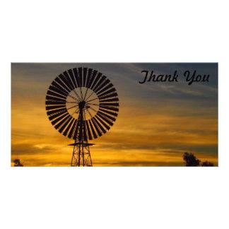 Thank You photo card -windmill sunset