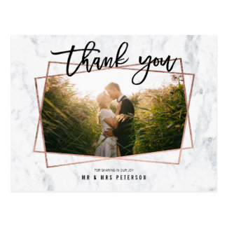 thank you photo script rose gold marble wedding postcard