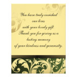 Thank You Photo Wedding Card Green & Gold Floral Personalised Invitations