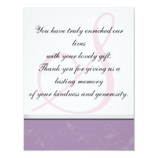 Thank You Photo Wedding Card - Monogram Floral 11 Cm X 14 Cm Invitation Card