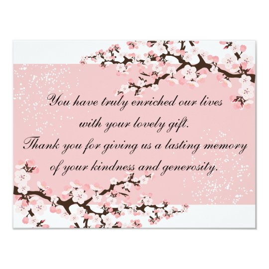 Thank You Photo Wedding Card Pink Cherry Blossoms