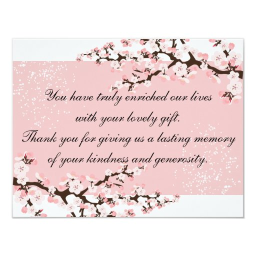 Thank You Photo Wedding Card Pink Cherry Blossoms 11 Cm X 14 Cm Invitation Card