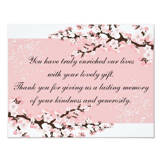 Thank You Photo Wedding Card Pink Cherry Blossoms 11 Cm X 14 Cm Invitation Card