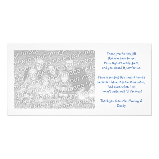 Thank you photocard from baby photo greeting card