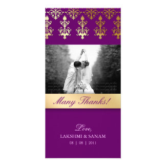 Thank You Photocard Indian Damask Purple Picture Card