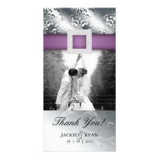 Thank You Photocard Jewel Damask Silver Purple V Photo Card Template