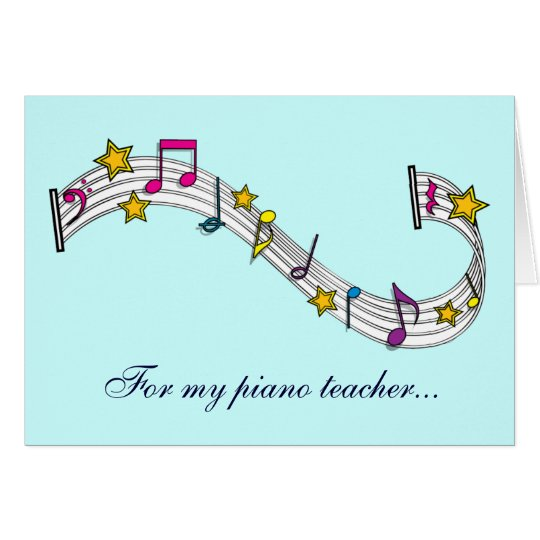 Thank You Piano Teacher with Notes and Stars