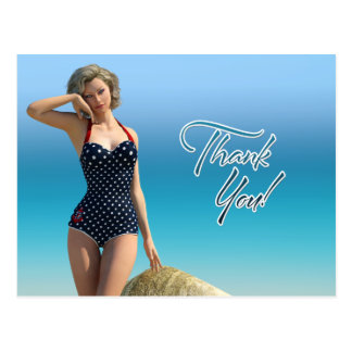 Thank You Pin Up Norma Postcard