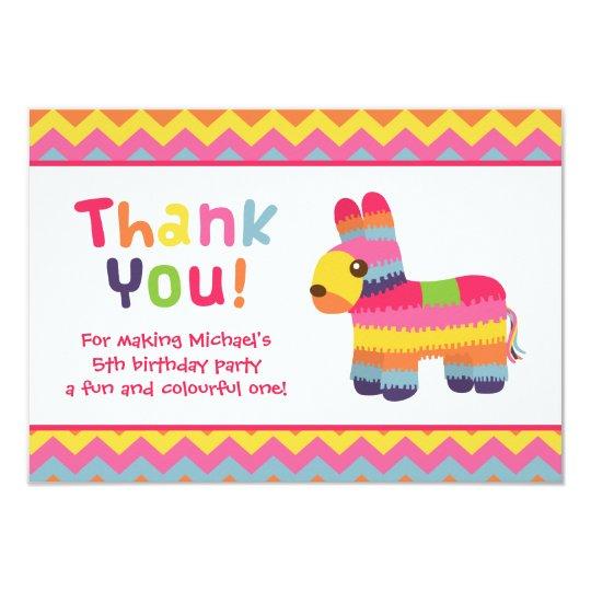 Thank You Pinata Mexican Fiesta Birthday Party Card
