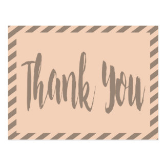 Thank You Pink And Gray Brown Stripes Postcard