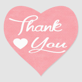 Thank You Pink And White Polka Dot Heart Stickers