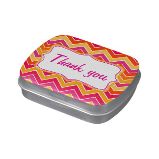 Thank you pink and yellow zigzag candy tin