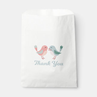 Thank You Pink & Blue Lovebirds Wedding Bridal Favour Bags