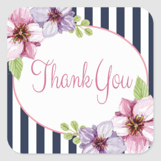 Thank You Pink Floral And Navy Blue Stripes Square Sticker