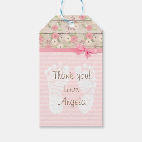 Thank You Pink Floral Baby Shower Gift Tag
