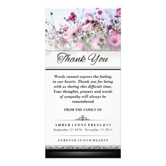 Thank You Pink Flower Field Words Cannot Express Card