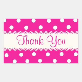 Thank You Pink Fuschia & White Polka Dot Sticker