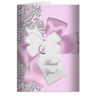 Thank You Pink Gray White Lace Card