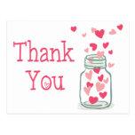 Thank You Pink Hearts Vintage Mason Jar Love Postcard