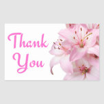 Thank You Pink Lily Floral Greeting Sticker Label