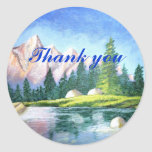 Thank You Pink Mountain Round Sticker