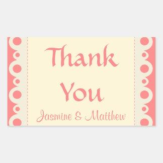 Thank You Pink Personalized Dot Wedding Sticker