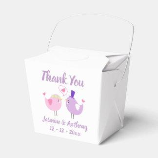 Thank You Pink Purple Lovebirds Wedding, Bridal Favour Box