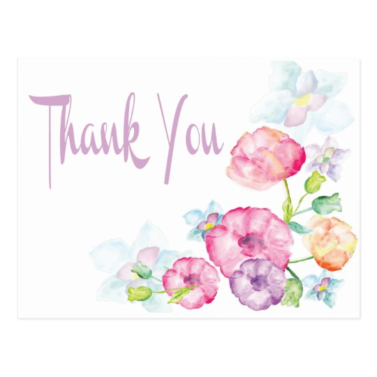 Thank You Pink & Purple Watercolor Flower Postcard