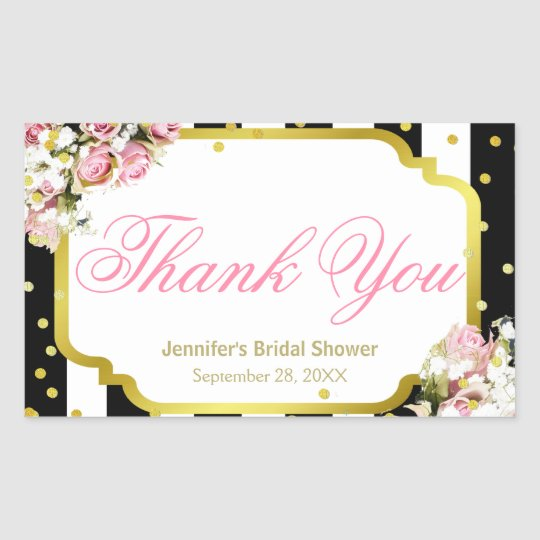 Thank You - Pink Roses, Stripes and Confetti Rectangular Sticker