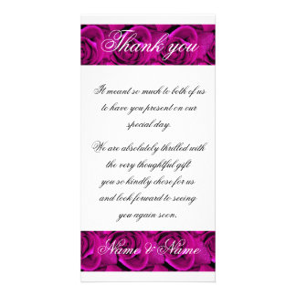 Thank you pink roses  template - customizable photo card