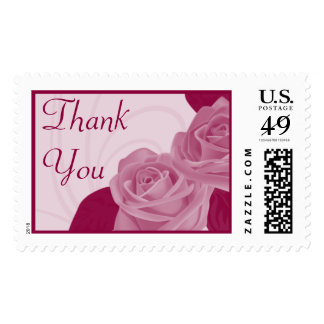 Thank You Pink Roses Wedding Postage
