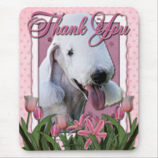 Thank You - Pink Tulips - Bedlington Terrier Mouse Pad
