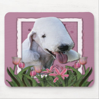 Thank You - Pink Tulips - Bedlington Terrier Mouse Pads