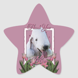Thank You - Pink Tulips - Bedlington Terrier Star Sticker