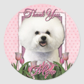 Thank You - Pink Tulips - Bichon Frise Classic Round Sticker