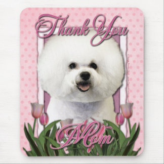 Thank You - Pink Tulips - Bichon Frise Mouse Mat