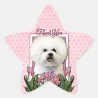 Thank You - Pink Tulips - Bichon Frise Star Sticker