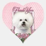 Thank You - Pink Tulips - Bichon Frise Heart Sticker