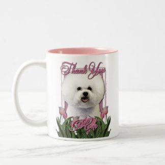 Thank You - Pink Tulips - Bichon Frise Two-Tone Coffee Mug