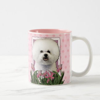 Thank You - Pink Tulips - Bichon Frise Two-Tone Coffee Mug