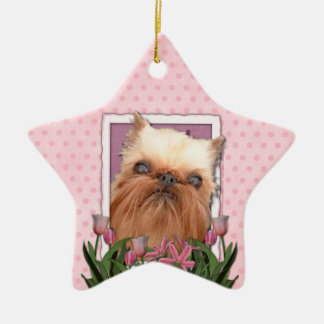 Thank You - Pink Tulips - Brussels Griffon Ceramic Star Decoration