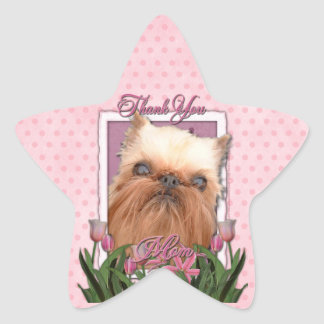 Thank You - Pink Tulips - Brussels Griffon Star Sticker