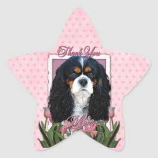 Thank You - Pink Tulips - Cavalier - Tri-Color Star Sticker