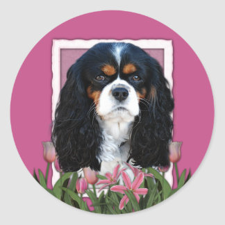 Thank You - Pink Tulips - Cavalier - Tri-Color Stickers