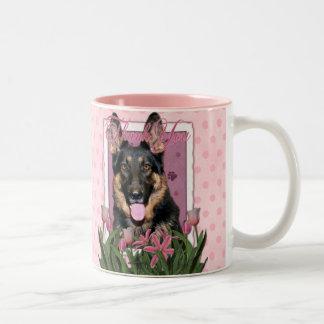 Thank You - Pink Tulips - German Shepherd - Kuno Coffee Mugs