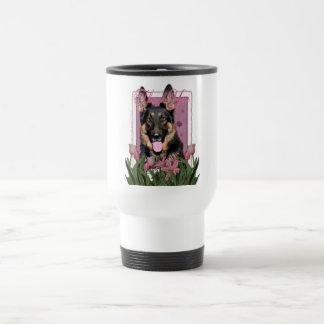 Thank You - Pink Tulips - German Shepherd - Kuno Mug