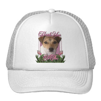 Thank You - Pink Tulips - Jack Russell Trucker Hat
