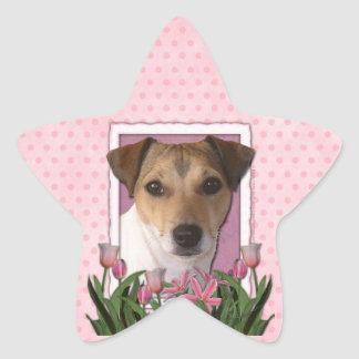 Thank You - Pink Tulips - Jack Russell Star Sticker
