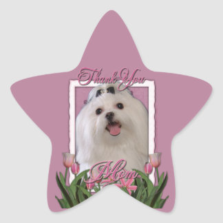 Thank You - Pink Tulips - Maltese Star Sticker